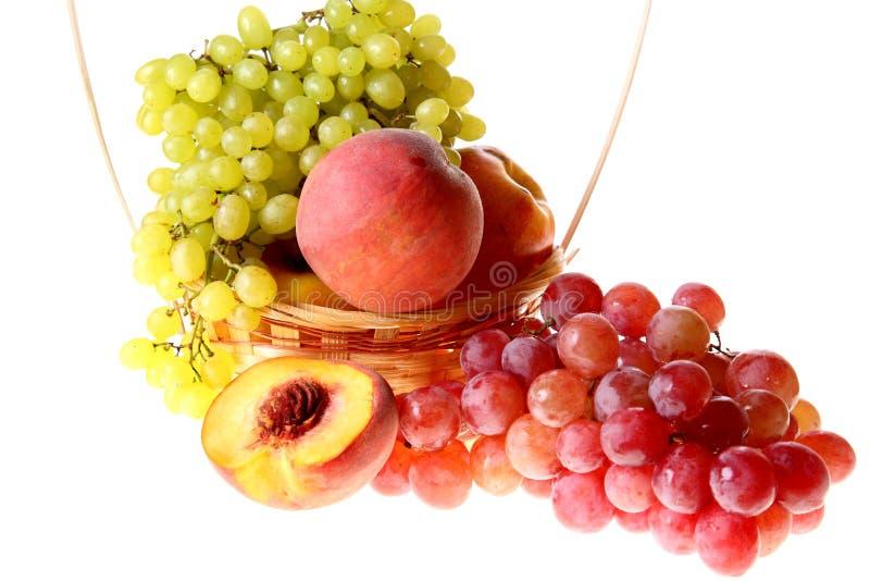 Conjuntos, pêssegos e maçã das uvas imagens de stock royalty free