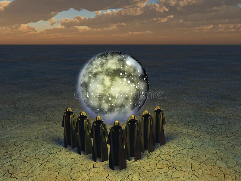 The conjurer priests. Hooded caped figures sphere of the stars shrouded in mist stock illustration