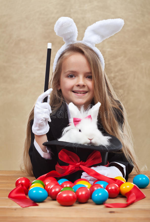 Conjuring the easter rabbit royalty free stock photography