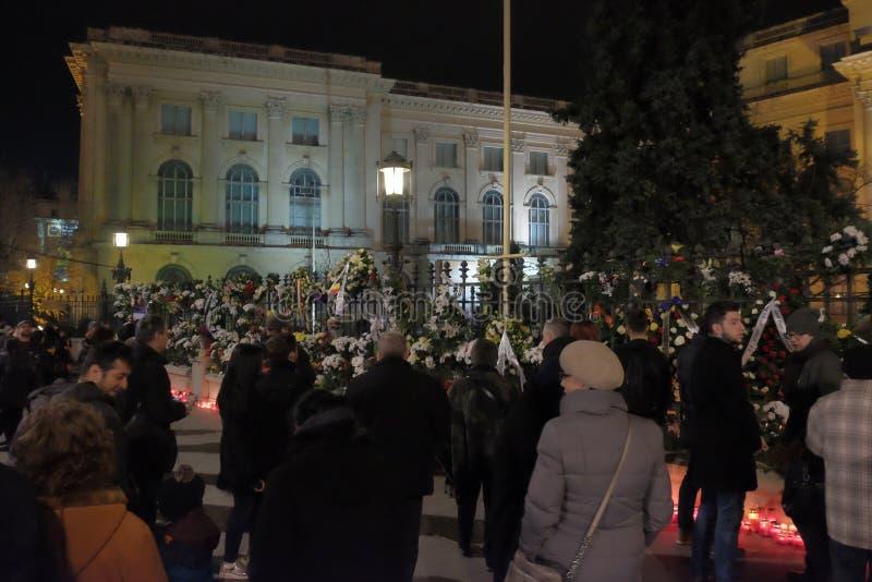 Conmemoración de rey Mihai en Royal Palace en Bucarest, Rumania foto de archivo libre de regalías