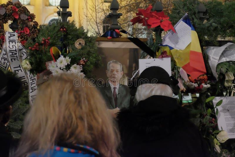 Conmemoración de rey Mihai en Royal Palace en Bucarest, Rumania foto de archivo