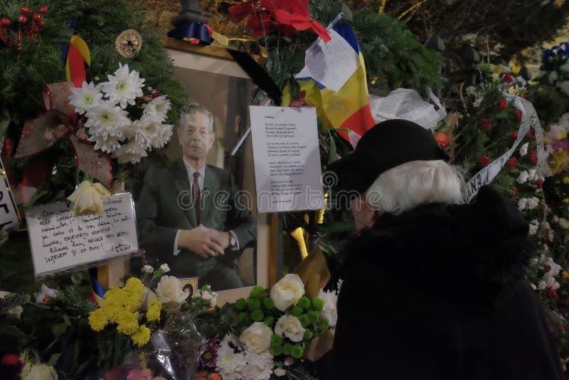Conmemoración de rey Mihai en Royal Palace en Bucarest, Rumania fotografía de archivo libre de regalías