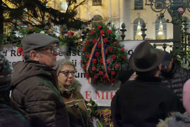 Conmemoración de rey Mihai en Royal Palace en Bucarest, Rumania imagen de archivo