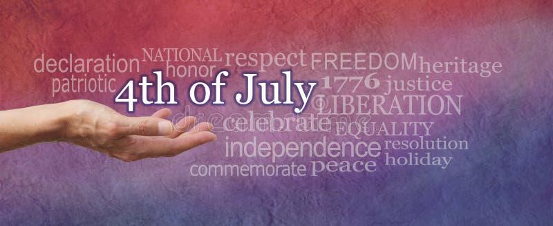 Conmemore el 4to de la nube de la palabra de julio imagenes de archivo