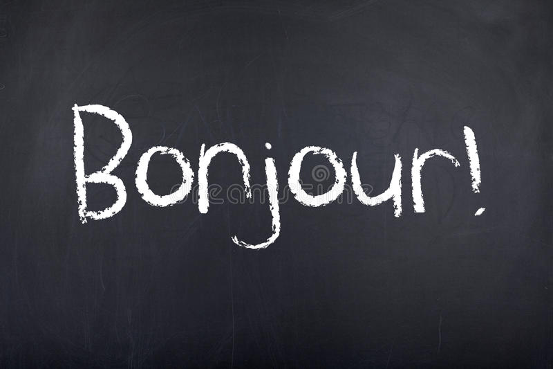Connaissance des langues françaises Bonjour bonjour photographie stock libre de droits