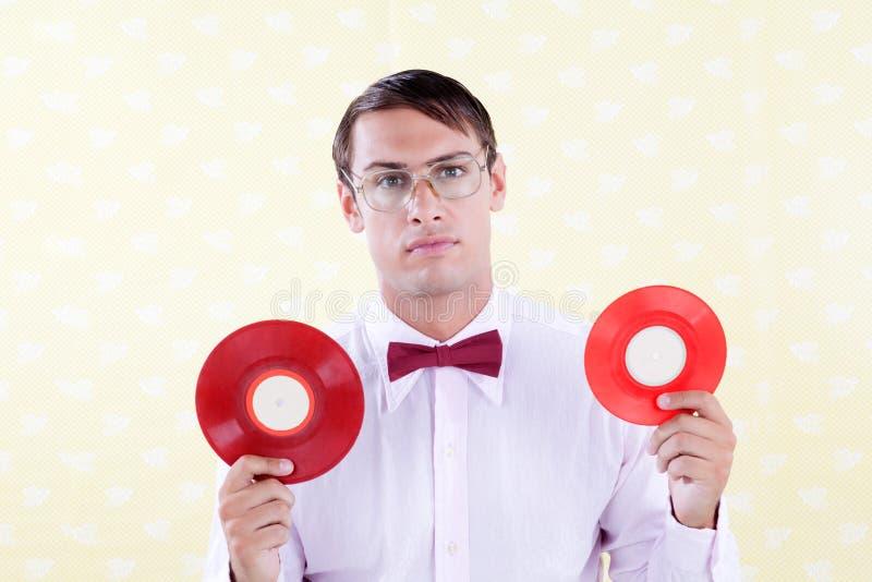 Connaisseur avec le disque vinyle photographie stock libre de droits