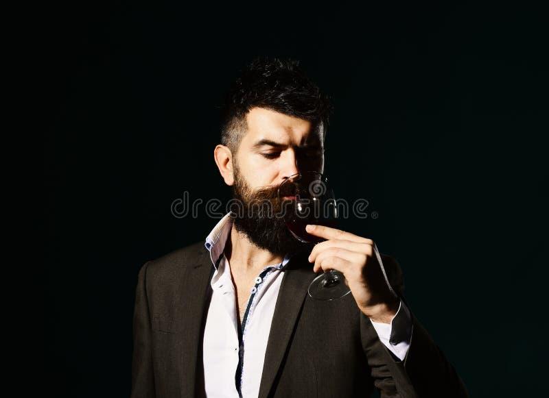 Connaisseur avec le visage sérieux goûtant le vin cher de cabernet images stock