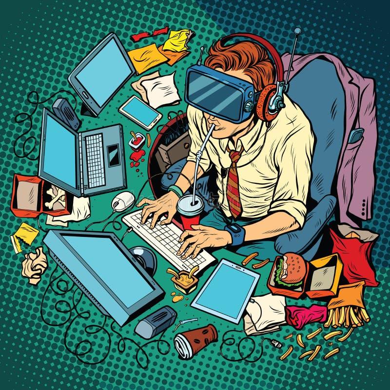 Connaisseur informatique travaillant sur des ordinateurs, réalité virtuelle illustration de vecteur