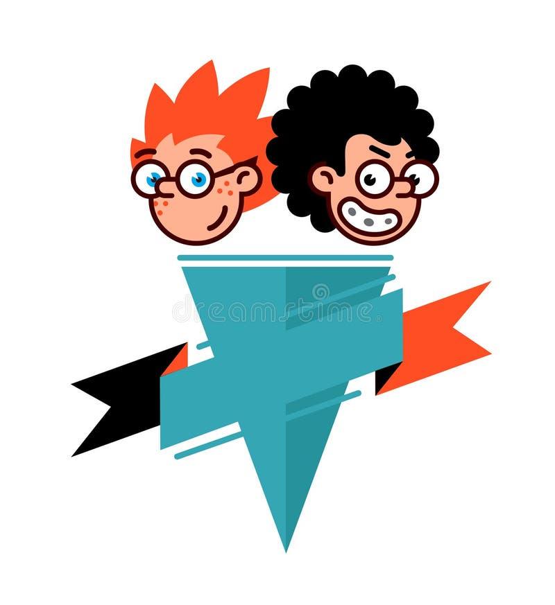 Connaisseurs de personnages de dessin animé dans un style plat Image de vecteur d'isolement sur le fond blanc Logo de bandes dess illustration libre de droits