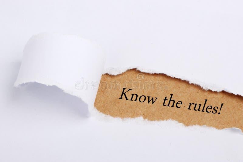 Connaissez les règles ! image stock