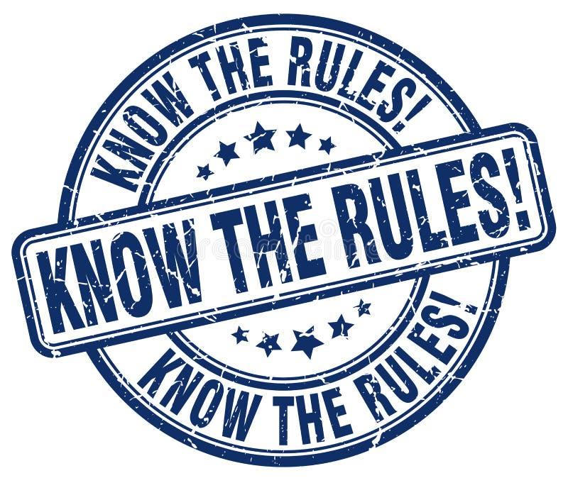 Connaissez les règles ! tampon en caoutchouc rond grunge bleu illustration de vecteur