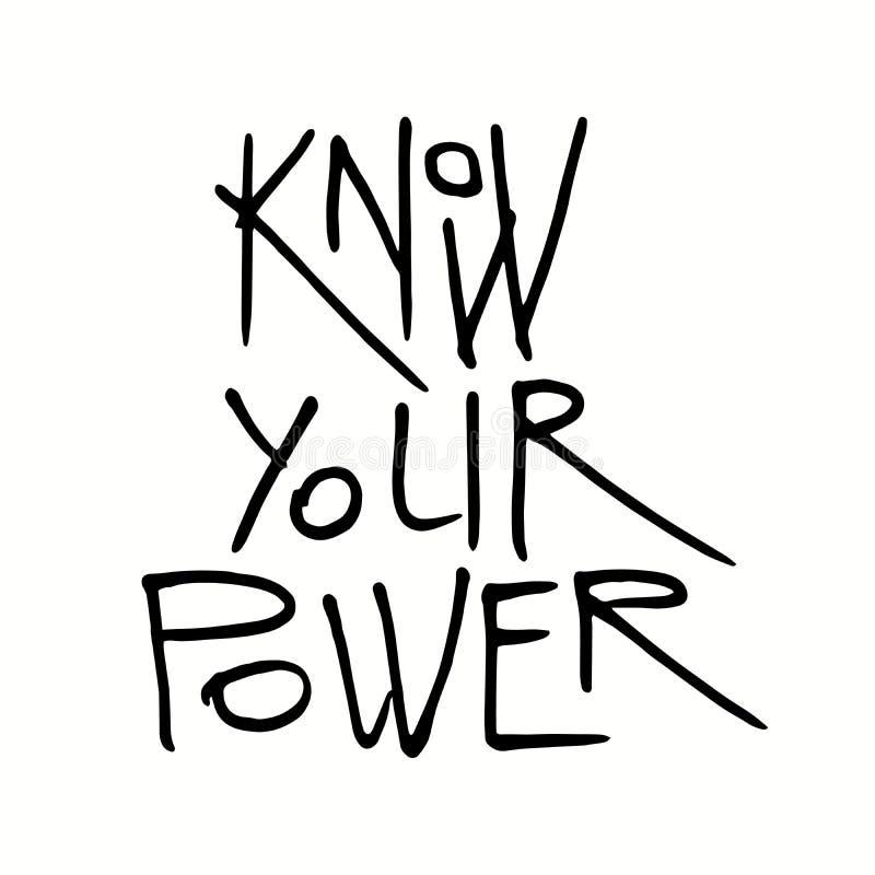 Connaissez votre citation de puissance illustration stock
