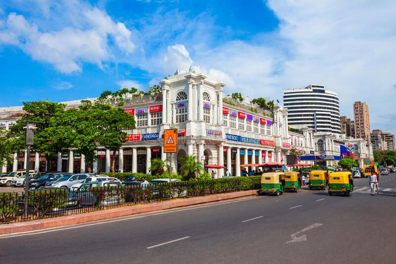 Connaught Place in New Delhi, India. NEW DELHI, INDIA - SEPTEMBER 26, 2019: Connaught Place or CP is one of the largest financial, commercial and business stock image