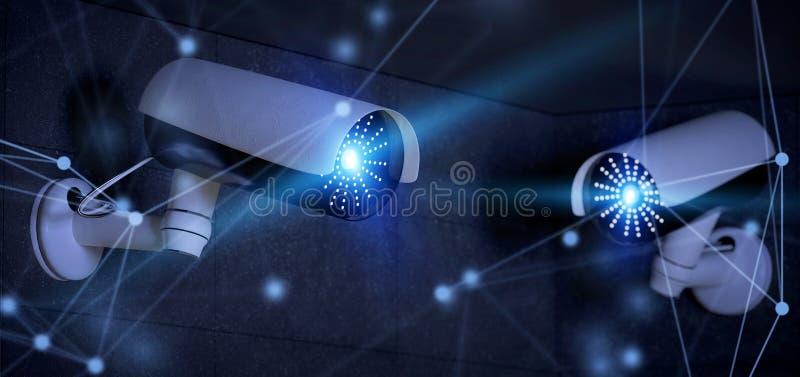 Conncetion över ett system för säkerhetscctv-kamera - tolkning 3d vektor illustrationer