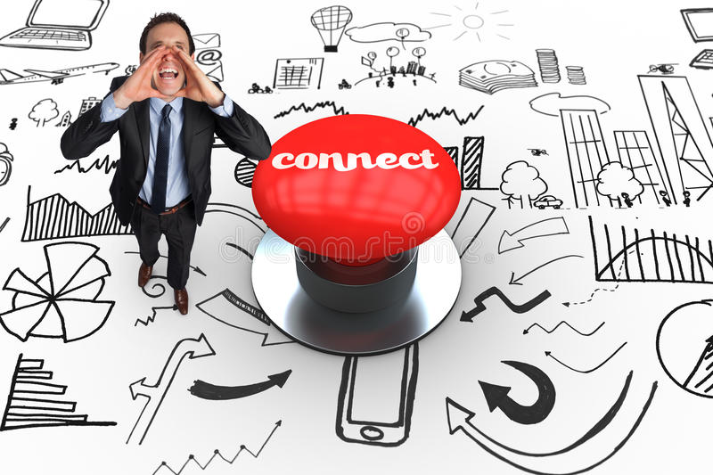 Connect against digitally generated red push button. The word connect and shouting businessman against digitally generated red push button stock illustration