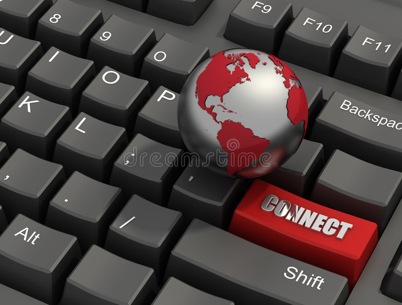 Connect Button On a Keyboard. Special red connect button on a keyboard with globe