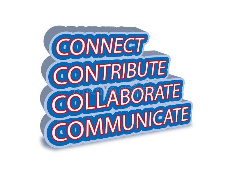 Connect colabora comunica-se contribui ilustração royalty free