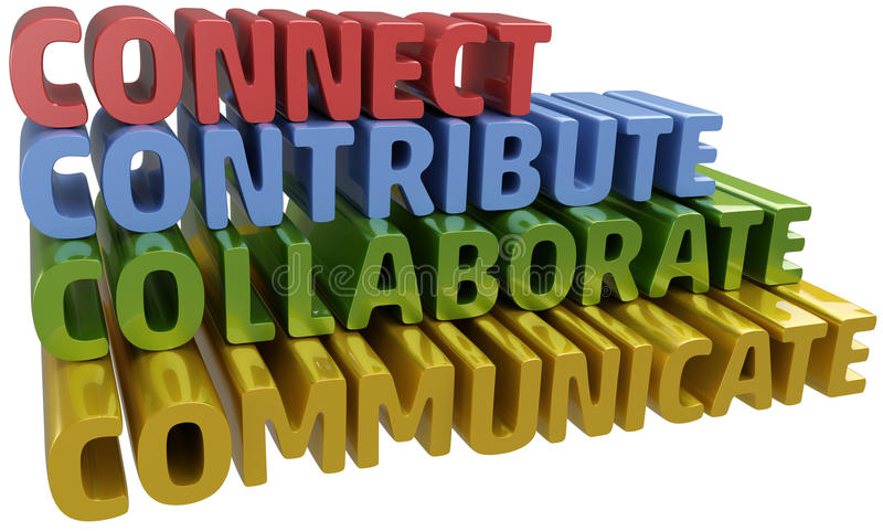 Connect collaborate communicate contribute. Lettter C words stack up collaboration connection contribution communication vector illustration