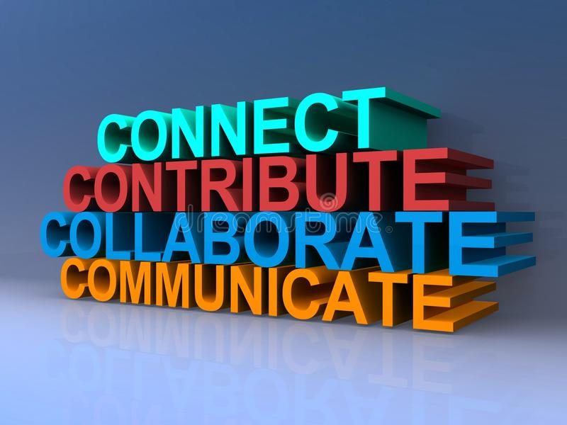 Connect, contribute, collaborate, communicate. 3D colorful text graphics connect, contribute, collaborate, communicate stacked against purple background royalty free illustration