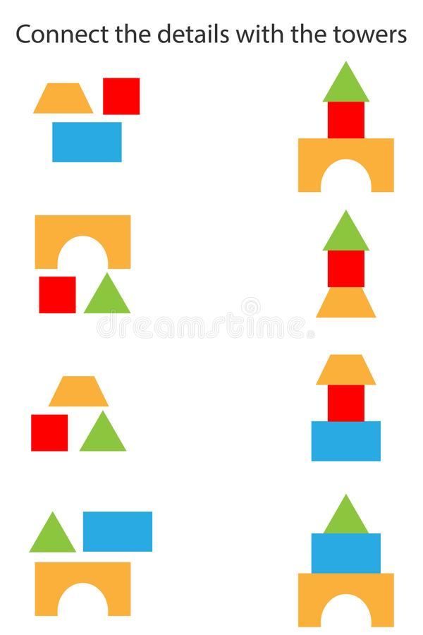 Connect the details and towers, different geometric shapes for children, fun education game for kids, preschool worksheet activity. Connect the details and vector illustration