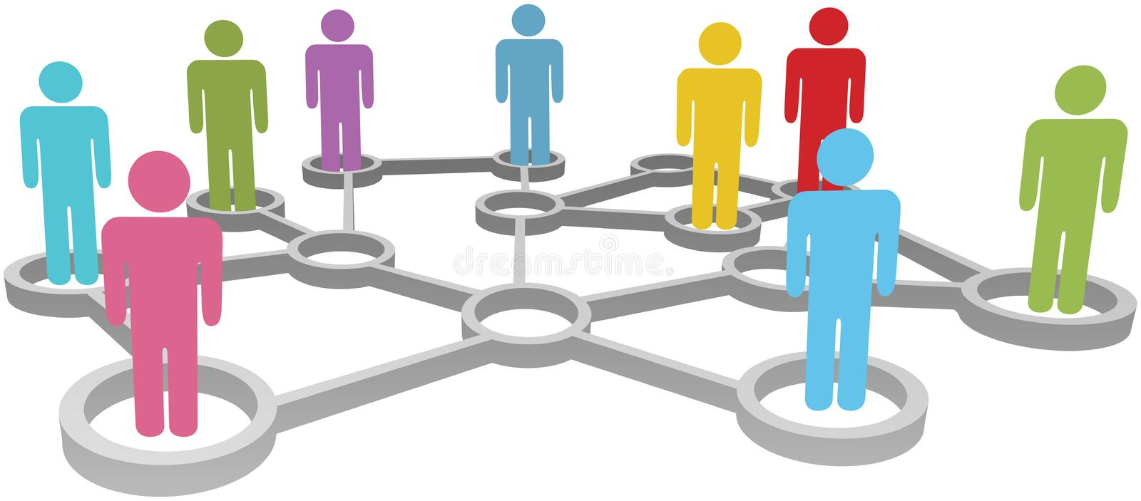Connect diverse people business or social network royalty free illustration