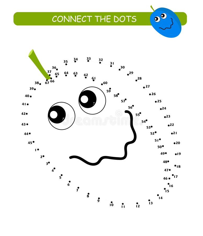 Connect the dots and color. Cute plum. Cartoon vector Illustration of educational game. Connect the dots and color. Cute plum. Cartoon vector of educational vector illustration