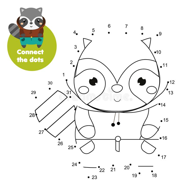 Connect the dots. Dot to dot by numbers activity for kids and toddlers. Children educational game. Cartoon raccoon.  royalty free illustration
