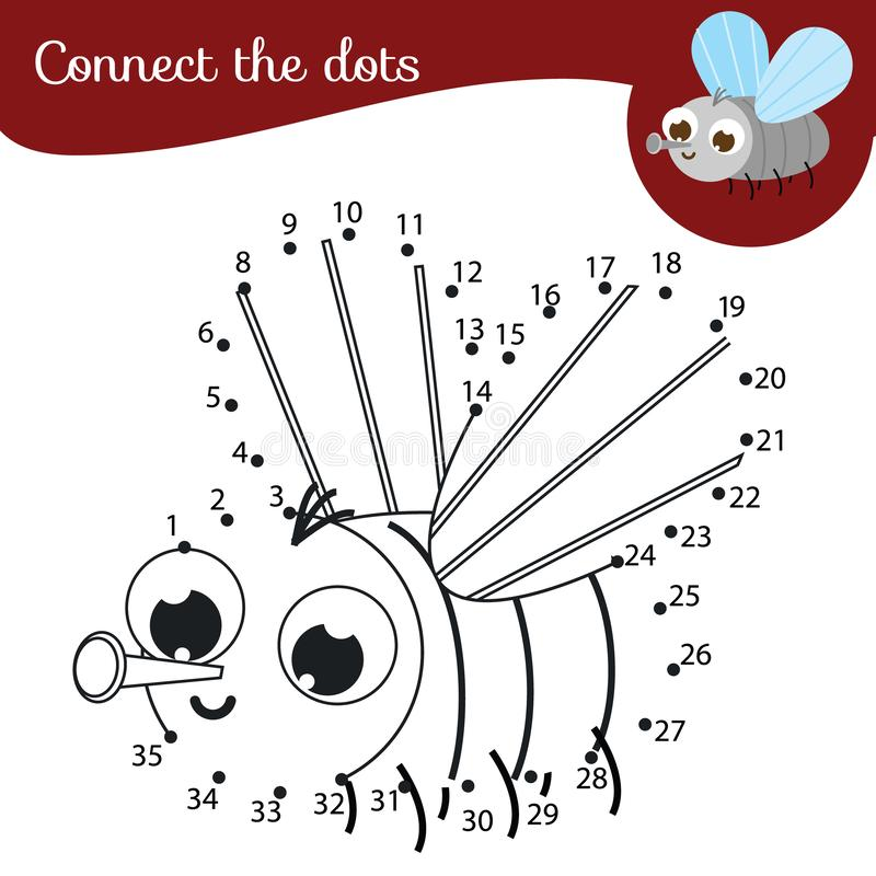Connect the dots. Dot to dot by numbers activity for kids and toddlers. Children educational game. Cartoon fly. Connect the dots. Dot to dot by numbers activity stock illustration
