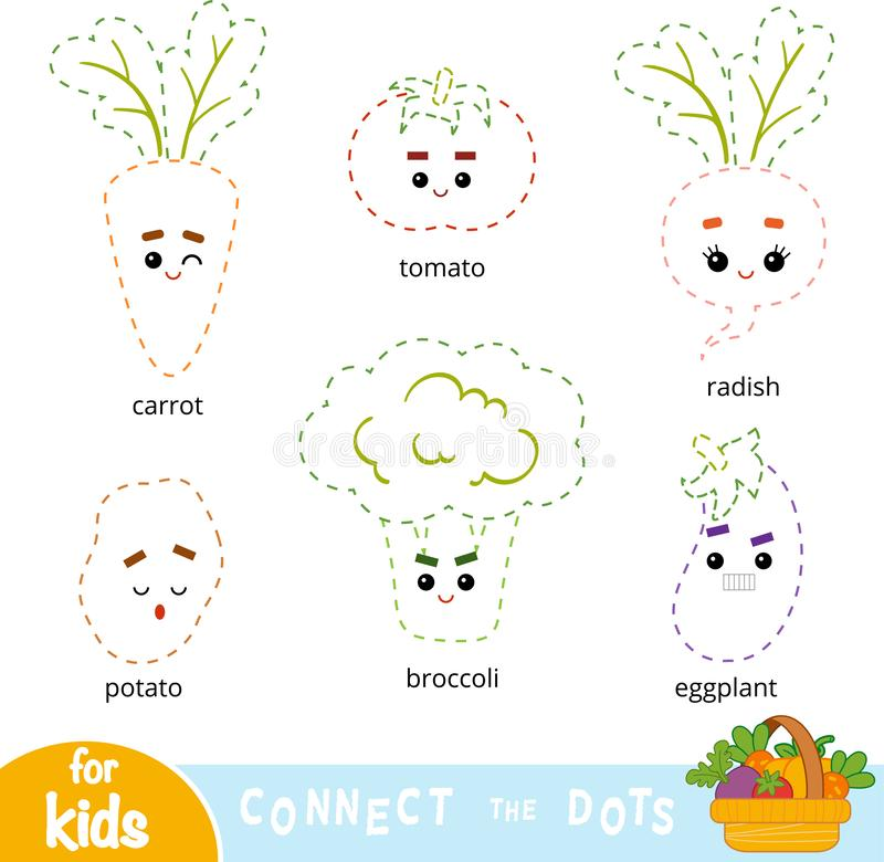 Connect the dots, game for children. Set of cartoon vegetables vector illustration