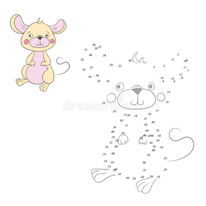 Connect the dots game mouse vector illustration. Connect the dots game mouse doodle cartoon hand drawn vector illustration vector illustration