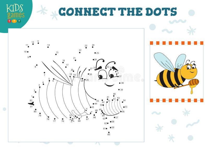 Connect the dots kids game vector illustration. Preschool children education activity stock illustration