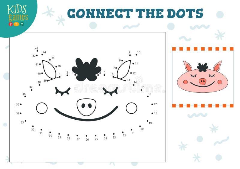 Connect the dots kids game vector illustration. Preschool children education activity vector illustration