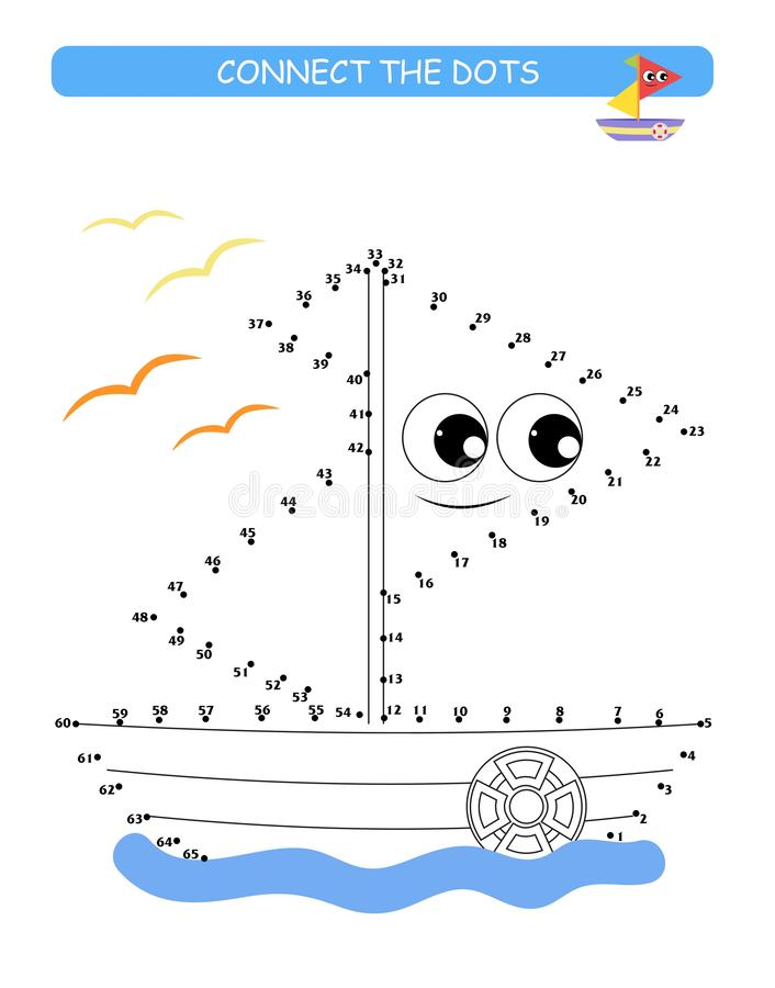 Connect the dots and color. Cute boat. Cartoon vector Illustration of educational game. Connect the dots and color. Cute and funny boat. Cartoon vector royalty free illustration