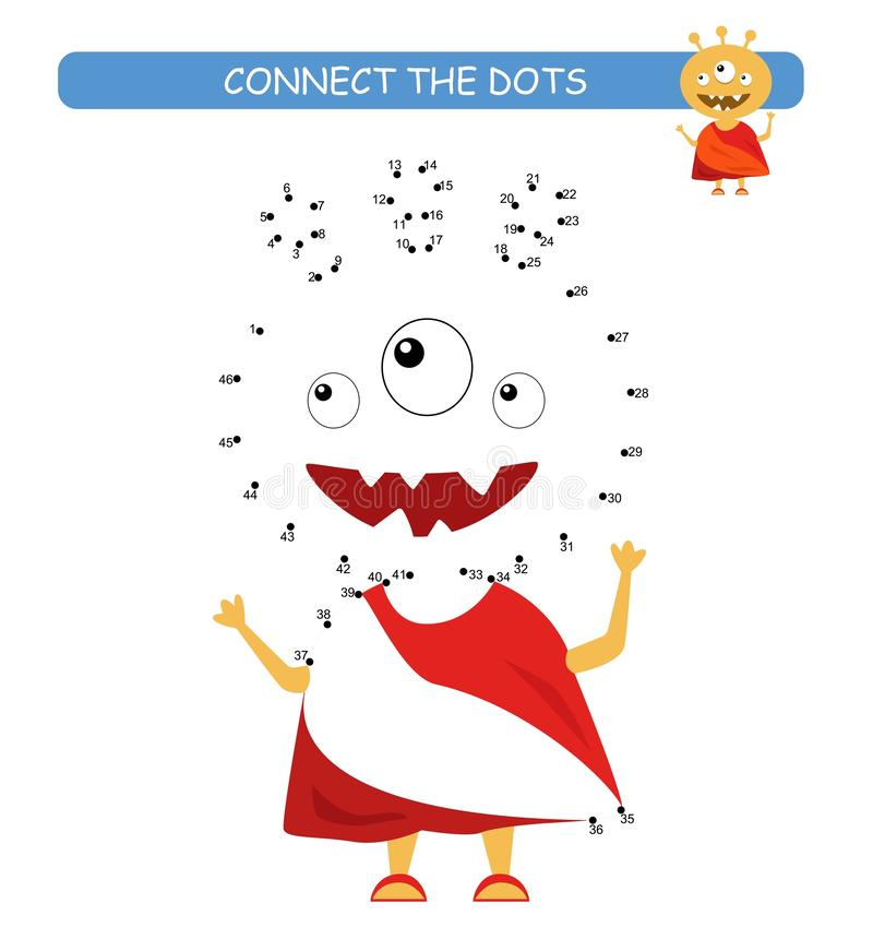 Connect the dots and color. Funny monster. Cartoon vector Illustration of educational game. Connect the dots and color. Funny monster. Cartoon vector of vector illustration