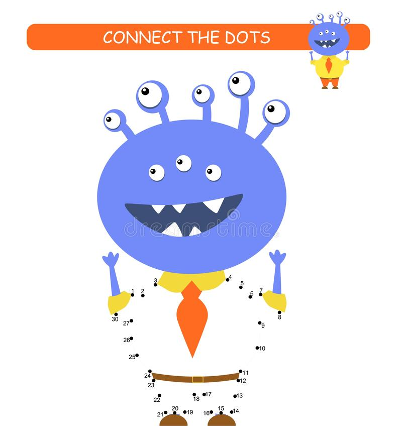 Connect the dots and color. Funny monster. Cartoon vector Illustration of educational game. Connect the dots and color. Funny monster. Cartoon vector of stock illustration