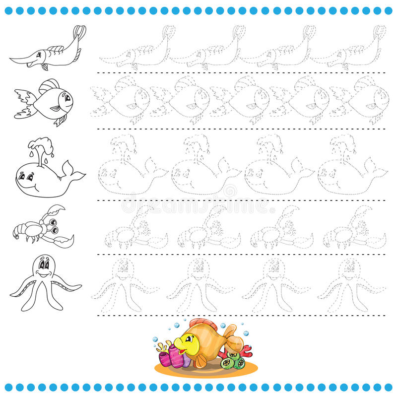 Connect the dots number of images - exercise for kids. Marine life stock illustration