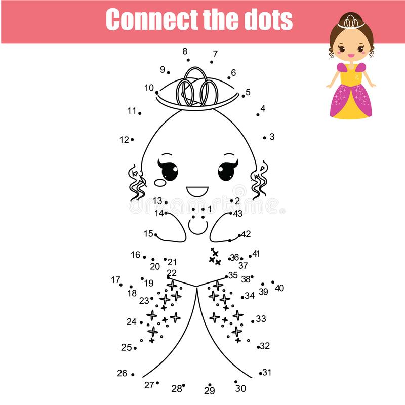 Connect the dots by numbers children educational game. Cute princess stock illustration
