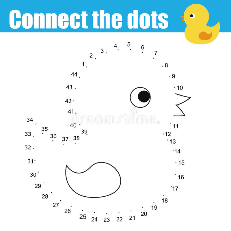 Connect the dots by numbers children educational game. Printable worksheet activity. Animals theme, baby bath duck toy stock illustration