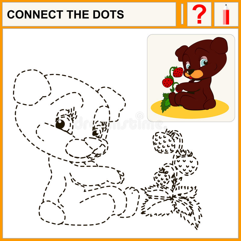 Connect the dots. Preschool exercise task for kids, cheerful Bear and strawberry vector illustration