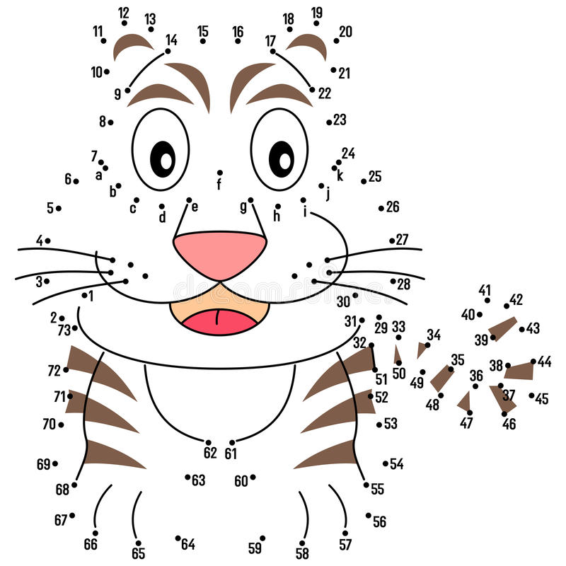 Connect the Dots - Tiger royalty free illustration