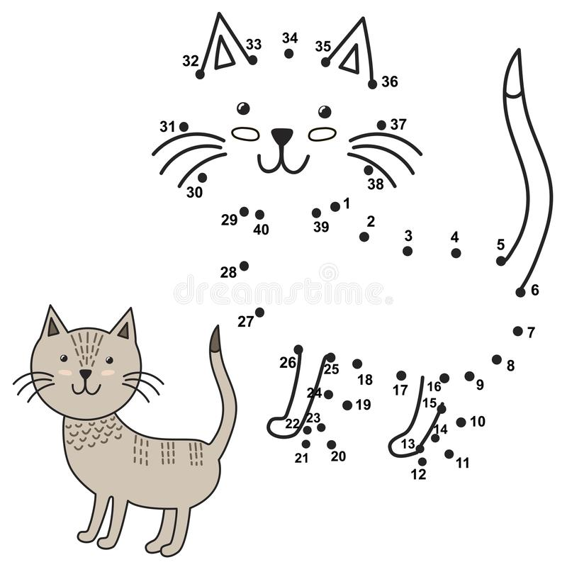 Connect the dots to draw the cute cat and color it vector illustration