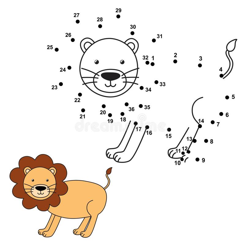 Connect the dots to draw the cute lion and color it. Vector illustration vector illustration