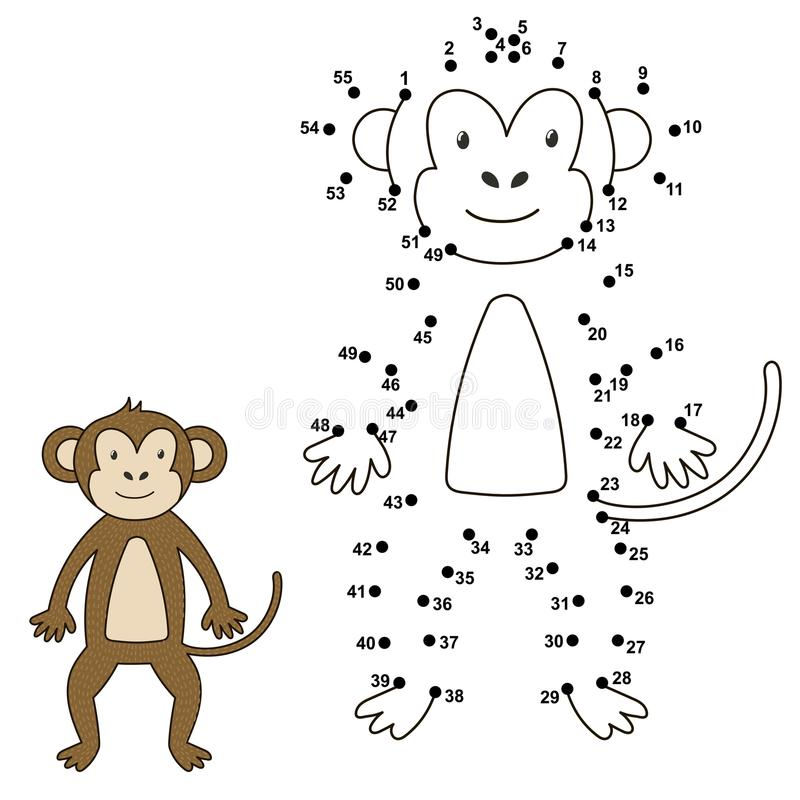 Connect the dots to draw the cute monkey and color it vector illustration