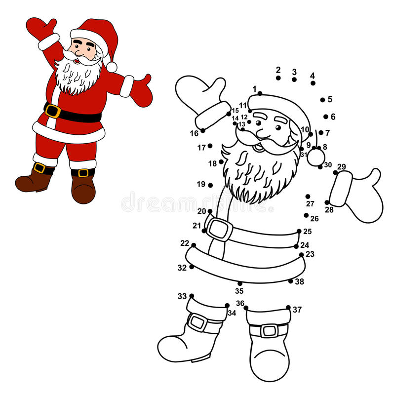 download connect the dots to draw santa claus and color him stock vector illustration of - Pictures Of Santa Claus To Color