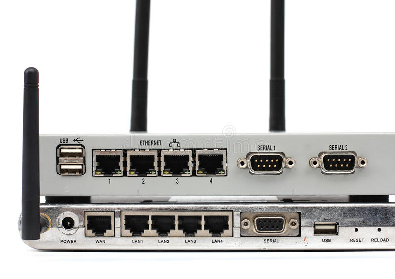 Connect the ethernet port on back of the router. royalty free stock photo