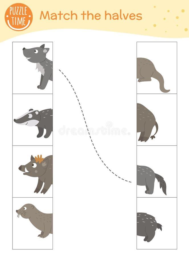 Connect the halves worksheet.  Matching game for preschool children royalty free illustration