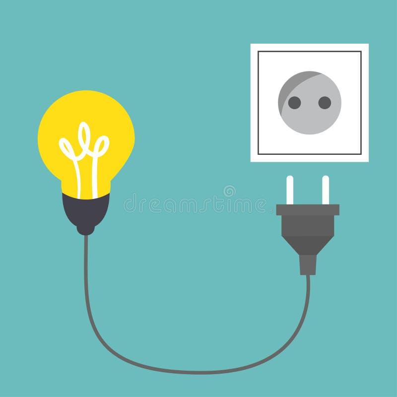 Connect idea. Bulb light, cord electrical plug connected to power socket. Connect idea. Bulb light, cord electrical plug connected to power socket stock illustration