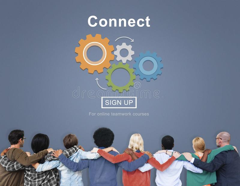 Teamwork with connect interaction concept stock photos