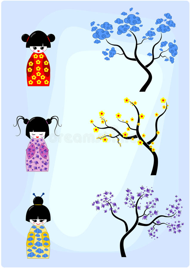 Download Connect Kokeshi Dolls To Trees Stock Vector - Image: 22800262