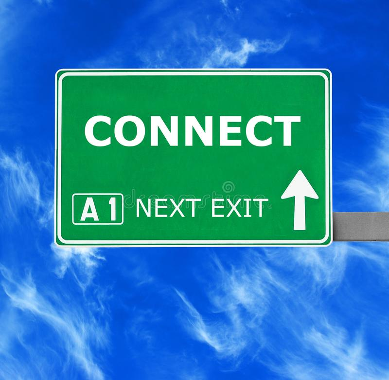 CONNECT road sign against clear blue sky royalty free stock photo